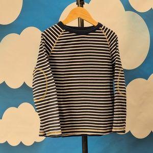 Mini Boden Elbow Navy Striped Tee T-shirt Boys 7 8